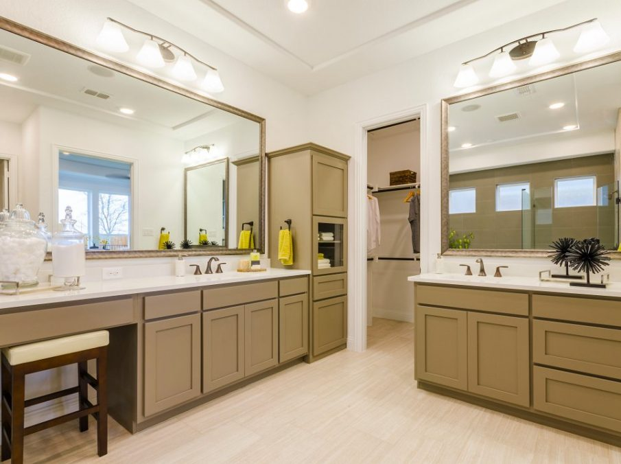 Landon Homes new home builder 432 Carrington Master Bath double vanity and walk-in closet