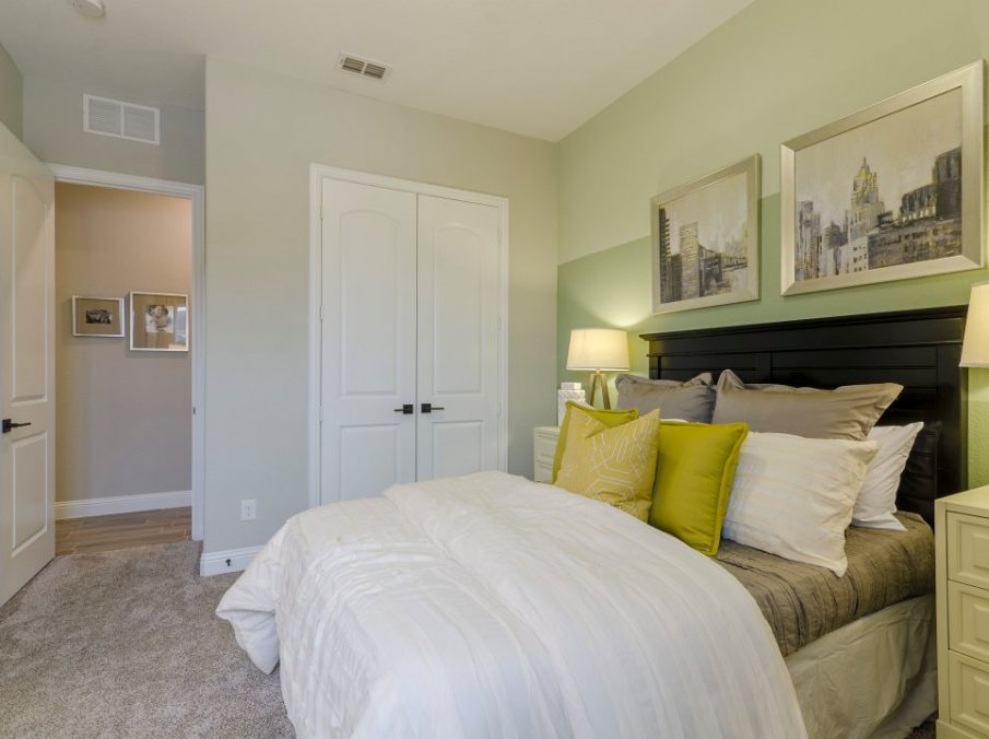 Landon Homes new home builder 432 Carrington Guest Bedroom white and yellow