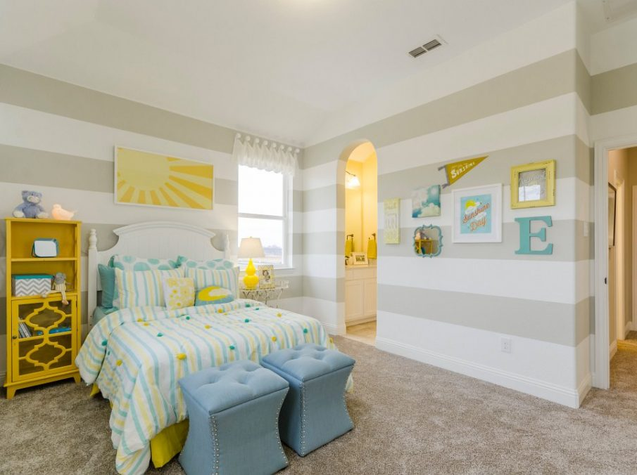 Landon Homes new home builder 432 Carrington Kids Bedroom tan yellow and blue