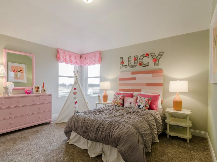 Landon Homes new home builder 432 Carrington Kids Bedroom pink and grey
