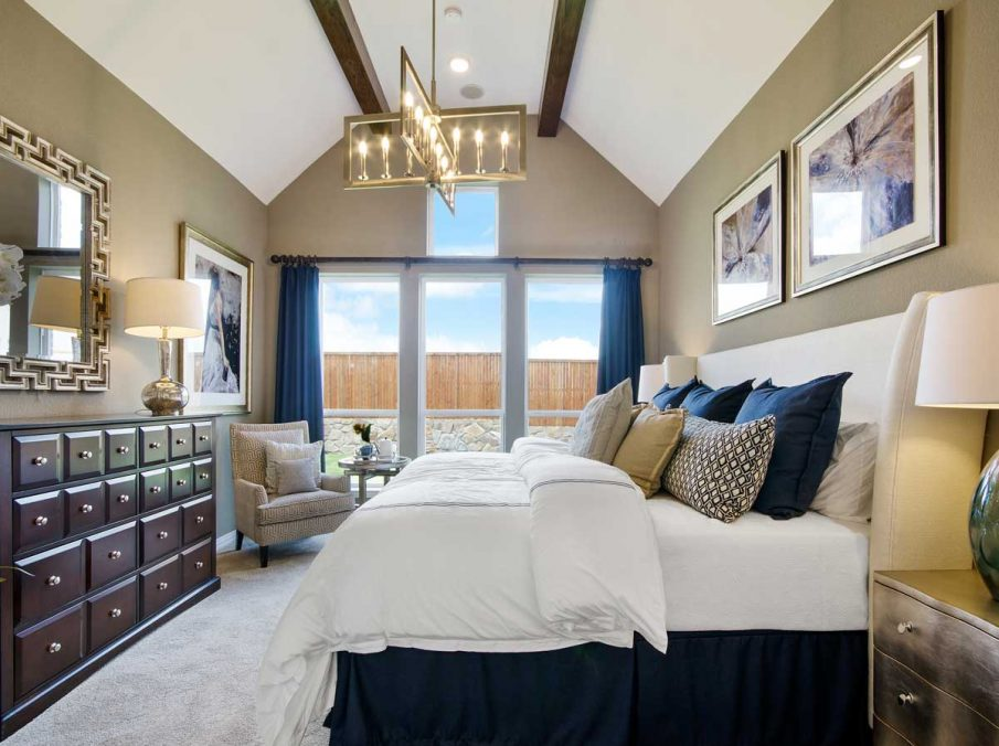 4655 Wellington Landon Homes Decorated Master Bedroom Tall Windows for Natural Light